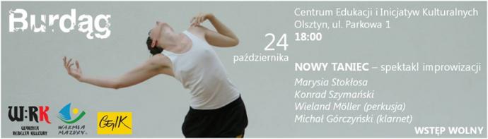 """Zdjęcie: Olsztyn:  """"Nowy taniec"""" – spektakl improwizacji: Stokłosa/Szymański/Möller/Górczyński"""