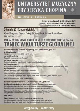 """Zdjęcie: Warszawa/Uniwersytet Muzyczny: Międzynarodowa Konferencja Naukowo-Artystyczna """"Taniec w kulturze globalnej"""""""