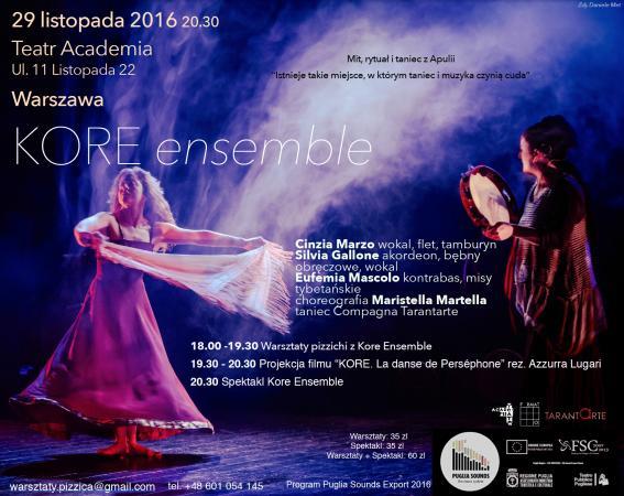 Zdjęcie: Warszawa/Kore Ensemble – Mit, Rytuał i taniec z Apulii: Pizzica e tamburello – warsztaty