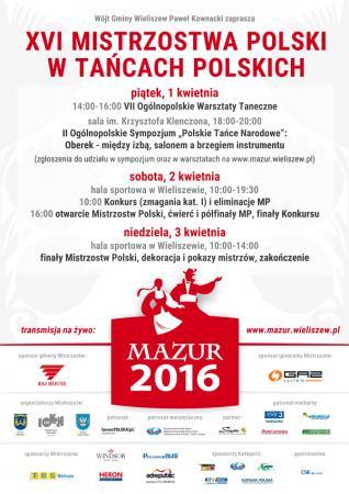 """Zdjęcie: Wieliszew/XVI Mistrzostwa Polski w Tańcach Polskich """"MAZUR 2016"""" – konkurs i pokazy"""