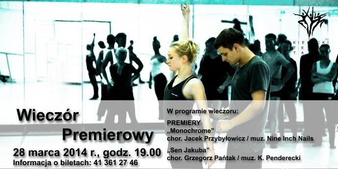 """Zdjęcie: Kielce: Kielecki Teatr Tańca """"Wieczór premierowy"""" – chor. Elżbieta Szlufik-Pańtak, Jacek Przybyłowicz, Grzegorz Pańtak"""