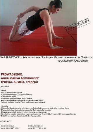"""Zdjęcie: Warszawa: Warsztat """"Medycyna tańca – fizjoterapia w tańcu"""" – prowadzenie Anna Achimowicz"""