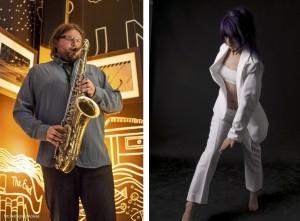 """Zdjęcie: Gdynia: Anna Haracz (ruch), Tomasz Gadecki (saksofon) """"Acoustic body – meditation"""""""